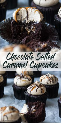 Salted Caramel Chocolate Cupcakes combine rich, moist chocolate cupcakes with and easy salted caramel filling and salted caramel buttercream. This is the best kind of indulgence, right here. via Cupcakes Salted Caramel Chocolate Cupcakes Easy Cheesecake Recipes, Easy Cookie Recipes, Sweet Recipes, Dessert Recipes, Bakery Recipes, Fast Recipes, Top Recipes, Recipes Dinner, Healthy Recipes