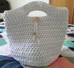 Crochet Tshirt Yarn Bag White Handmade Cotton by JodieLeeDZines