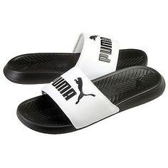 Puma Popcat Mens 360265-01 White Black Logo Slide Sandals Slippers Size 8