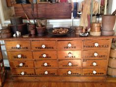 Prim apothecary chest and wooden smalls