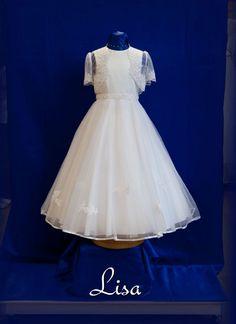 Classic Communion Dress with Short Sleeve Bolero - White Angel - Lisa - Online UK Stockists - Girls First Communion Dress with full circle skirt -