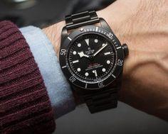 Tudor Heritage Black Bay Dark Watch Hands-On All Black Watches, Cool Watches, Rolex Watches, Casual Watches, Tudor Black Bay Dark, Tudor Heritage Black Bay, Omega Seamaster Planet Ocean, Breitling, Tudor Submariner