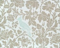Barbary Coast Damask Bird Parrot Print Neutral Cotton Fabric Upholstery Drapery Apparel TWO COLOR CHOICES