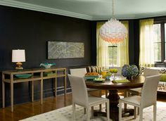 Black Satin Walls & Gossamer Blue Ceilings by Benjamin Moore Ceiling Paint Colors, Colored Ceiling, Warm Dining Room, Dining Rooms, Blue Ceilings, Painted Ceilings, High Ceilings, Interior Paint, Interior Design