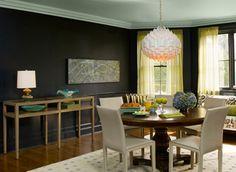 Black Satin Walls & Gossamer Blue Ceilings by Benjamin Moore Ceiling Paint Colors, Colored Ceiling, Warm Dining Room, Dining Rooms, Blue Ceilings, Painted Ceilings, High Ceilings, Interior Paint, Interior Design