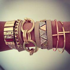 Leather & Links Wrap Bracelets