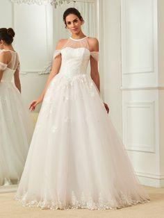 Fancy Halter Ball Gown Lace Wedding Dress