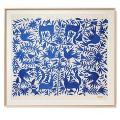 Blue Otomí - Sublime Framed Textile