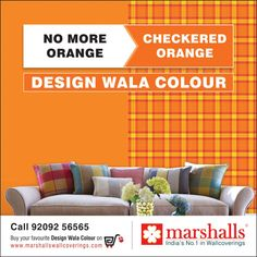 Say goodbye to that plain Orange painted wall and give your wall a remarkable makeover with this Checkered Orange wallcovering from Marshalls Wallcoverings!  Explore more on www.marshallswallcoverings.com  #MarshallsWallcoverings #DesignWalaColour #HomeInteriors #InteriorDecoration #InteriorDesign #walls #wallpapers.