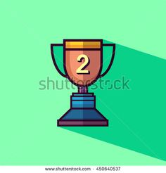 Trophy icon 2nd winner flat design with long shadow. Vector illustration.