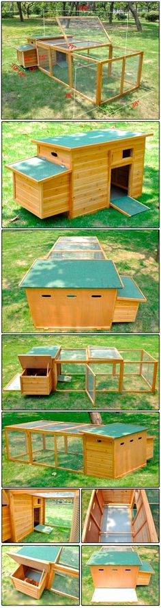 OMG! I want a chicken so I can have this chicken coop!! Poultry Coop Wood Hen Chicken House with Run