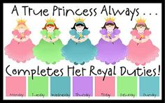 I had to do a little Princess Research on this one. I wasn't exactly sure what to do for a Princess Job Chart, since I don't. Behavior Chart Toddler, Behaviour Chart, Chore Cards, Printable Chore Chart, Free Printables, Job Chart, Charts For Kids, Toddler Fun, Little Princess