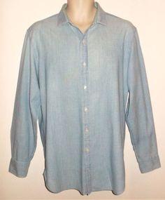 33f1745f50e J CREW Chambray Thompson Shirt L M Blue SLIM FIT Mens Long Sleeve Cotton   JCREW