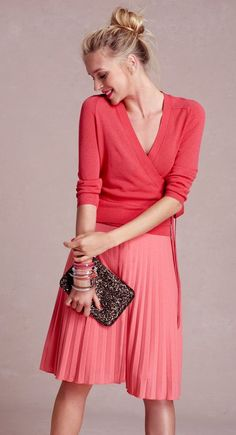 shades of pink/tangerine/orange/coral - wrap sweater and pleated skirt