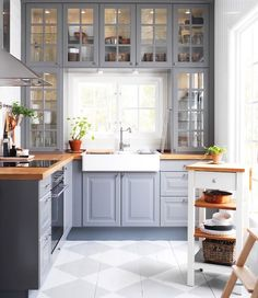 IKEA #cabinets with #grey paint and butcher block wood #countertop: