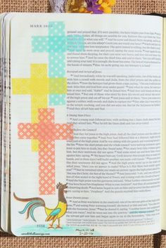 Mark 14:68, March 25, 2016, carol@belleauway.com, Washi tape, Rooster stamp, Prismacolor pencils, bible art journaling, bible journaling, illustrated faith