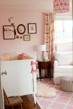 Baby Girl's Nursery - I like the color pink walls.