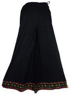 Cotton Divided Skirt From Jaipur In Solid Black - DRKPS30JV1