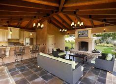 California Living – Outdoor Kitchen & Cabana.A dream home in California isn't quite complete without a properly landscaped front and backyard. This project required a cabana design that provided a comfortable living area that maximized the views from every angle and included a state-of-the-art kitchen, full tv / media hook-ups, guest bathroom and enough shade to entertain a large group of guests who need a break from the sun.