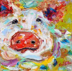 Original oil painting Pig Portrait farm animal palette knife on canvas impasto impressionism fine art by Karen Tarlton