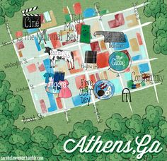 Cute Athens, GA downtown map with hip shops, hot spots, cool cuisine, by local Sarah Lawrence. Click through for a great Athens City Guide!