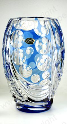 VINTAGE GLASS IN BLUE. c.1960s VAL ST. SAINT LAMBERT BLUE OVERLAY UNIQUE CRYSTAL VASE. To visit my website click here: http://www.richardhoppe.co.uk or for help or information email us here: info@richardhoppe.co.uk