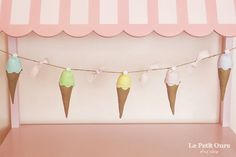Pastel Ice Cream Cone Garland, Birthday Party Bunting, Summer Bunting, Shabby Chic