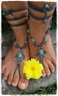 Indian style turquoise barefoot sandals. Festival by 10TempleToes, $40.00