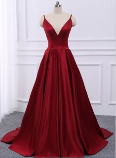 Burgundy v neck satin long prom dress, simple evening dress sold by Dreamy Dress. Shop more products from Dreamy Dress on Storenvy, the home of independent small businesses all over the world. Straps Prom Dresses, Prom Dresses 2018, Ball Gowns Prom, Cheap Prom Dresses, Dress Prom, Party Dresses, Grad Dresses, Dress Long, Open Back Evening Gown