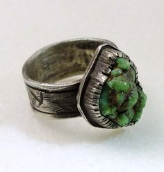 DameleTurquoise raw nugget ring  antiqued by BortersJewelryStudio, $285.00
