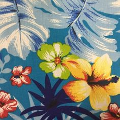 Aqua Hawaiian Print Poly Cotton Fabric