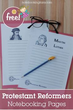 Free Protestant Reformers Notebooking Pages Printable Activities For Kids, Free Printable Worksheets, Worksheets For Kids, Printables, Writing Activities, Free Homeschool Curriculum, Homeschooling Resources, Reformation Day, Protestant Reformation