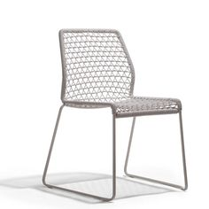 Vela Handwoven chair Indoor Finishes: steel chrome - raw rope white steel paint with glossy finish - white PVC mat grey steel paint with glossy finish - grey P by Hannes Wettstein