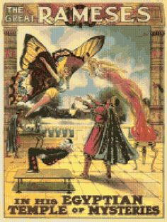 The Great Ramses Victorian Magician Levitating Assistant Cross Stitch Pattern PDF - Instant Download! by PenumbraCharts on Etsy