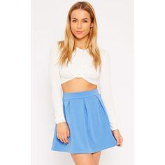 Astrid Blue Pleated Scuba Skater Skirt - 8 (310 MXN) ❤ liked on Polyvore featuring skirts, mini skirts, blue, blue mini skirt, short mini skirts, skater skirt, circle skirt and blue pleated mini skirt
