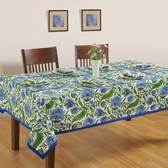 Buy designer marine blossom table cover with matching runners, mats & napkins online at best price only from saavra.com. Free Shipping Also Available.