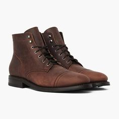 Men's Burnt Copper Captain Lace-Up Boot - Thursday Boot Company Color Burnt Copper Size or 12 Mens Rugged Boots, Rugged Men, Rugged Style, Man Style, Leather Dress Shoes, Leather Gloves, Botas Outfit, Mens Boots Fashion, Fashion Wear