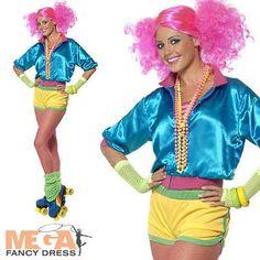 Roller Skater Girl 1980s Ladies Fancy Dress Womens Adults 70s 80s Disco Costume
