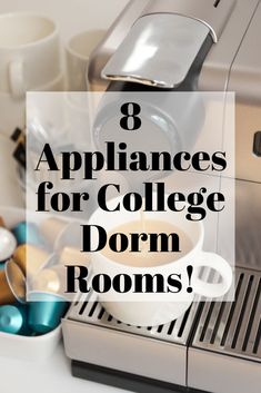 Cooking in your dorm room can be challenging! These appliances will help you make food so you don't always have to eat out or in the cafeteria! College Food Lists, College Cooking, College Meals, College Dorm Rooms, Dorm Room Food, Cooking Appliances, Dorm Life, Protein Snacks, High Protein