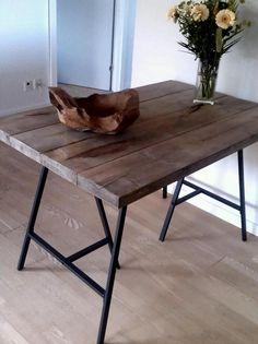 Homemade dining table.    Legs are Ikea Lerberg.
