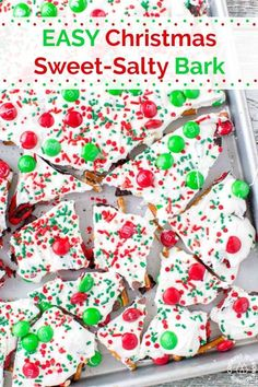 Super easy Christmas Bark with that great sweet salty taste! Super easy Christmas Bark with that great sweet salty taste! Christmas Bark, Christmas Sweets, Christmas Goodies, Simple Christmas, Christmas Pretzels, Christmas Crunch, Christmas Ideas, Merry Christmas, Best Christmas Recipes