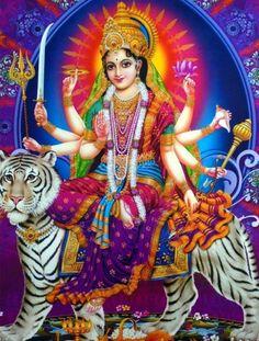 During Navratri people wake up and bathe early in the morning and pray to the goddess. The devotees perform special pujas and havans to welcome Goddess Durga and her nine avatars. Maa Durga Photo, Maa Durga Image, Durga Picture, Lord Durga, Durga Ji, Shri Hanuman, Lord Vishnu, Shiva Art, Hindu Art