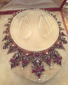 A fine pearl, ruby and diamond necklace made for Empress Eugénie in - Ruby Jewelry Royal Jewelry, Ruby Jewelry, Fall Jewelry, Turquoise Jewelry, Jewlery, Danty Jewelry, Nice Jewelry, Diamond Jewellery, Ruby And Diamond Necklace