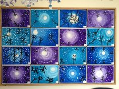 """""""Lunta sataa"""". Ensin paperiin ympyrä, josta ympyrän suuntaisin vedoin maalattiin koko paperi sinisellä tummentaen sävyä reunoja kohti mentäessä. Tämän jälkeen tehtiin mustalla väriliidulla puut. Lopuksi valkoisella pullovärillä lyijykynän teroittamattomalla päällä kastaen lumihiutaleet. En tiedä, oliko tekniikka """"täysin väärä"""", mutta lopputulos näytti ainakin hyvältä. (Tea Ikala, Alakoulun aarreaitta). Voi tehdä myös pelkillä peiteväreillä. Kuva Pinterestistä.( Alakoulun aarreaitta FB…"""
