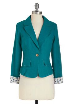You're Teal the One Blazer - Blue, White, Solid, Menswear Inspired, Long Sleeve, Short, Work, Casual, Spring, Fall