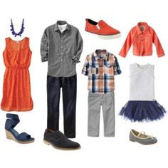 What to Wear Family Orange and Navy