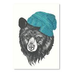 Zissou the Bear Blue Graphic Art Print