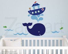 Wall Decal Whale  and  Boy Personalized Name Wall Vinyl by Zapoart, $94.00