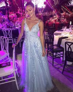 Elegant Prom Dresses Tulle V Neck Lace Embroidery Fashion Prom Dress Dresses For Teens Wedding, Fall Bridesmaid Dresses, Elegant Prom Dresses, Prom Dresses Blue, Modest Dresses, Spring Dresses, Cheap Dresses, Homecoming Dresses, Beautiful Dresses