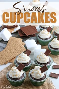 These S'mores Cupcakes are perfect for summer! Rich chocolate cupcakes with a graham cracker bottom and topped with the creamiest marshmallow frosting! Keep reading for the S'mores Cupcake recipe!